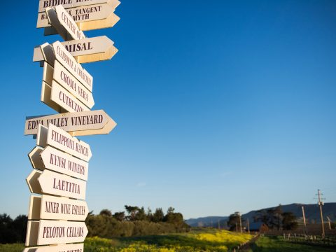 Signs of Edna Valley Winery Cycling Destination