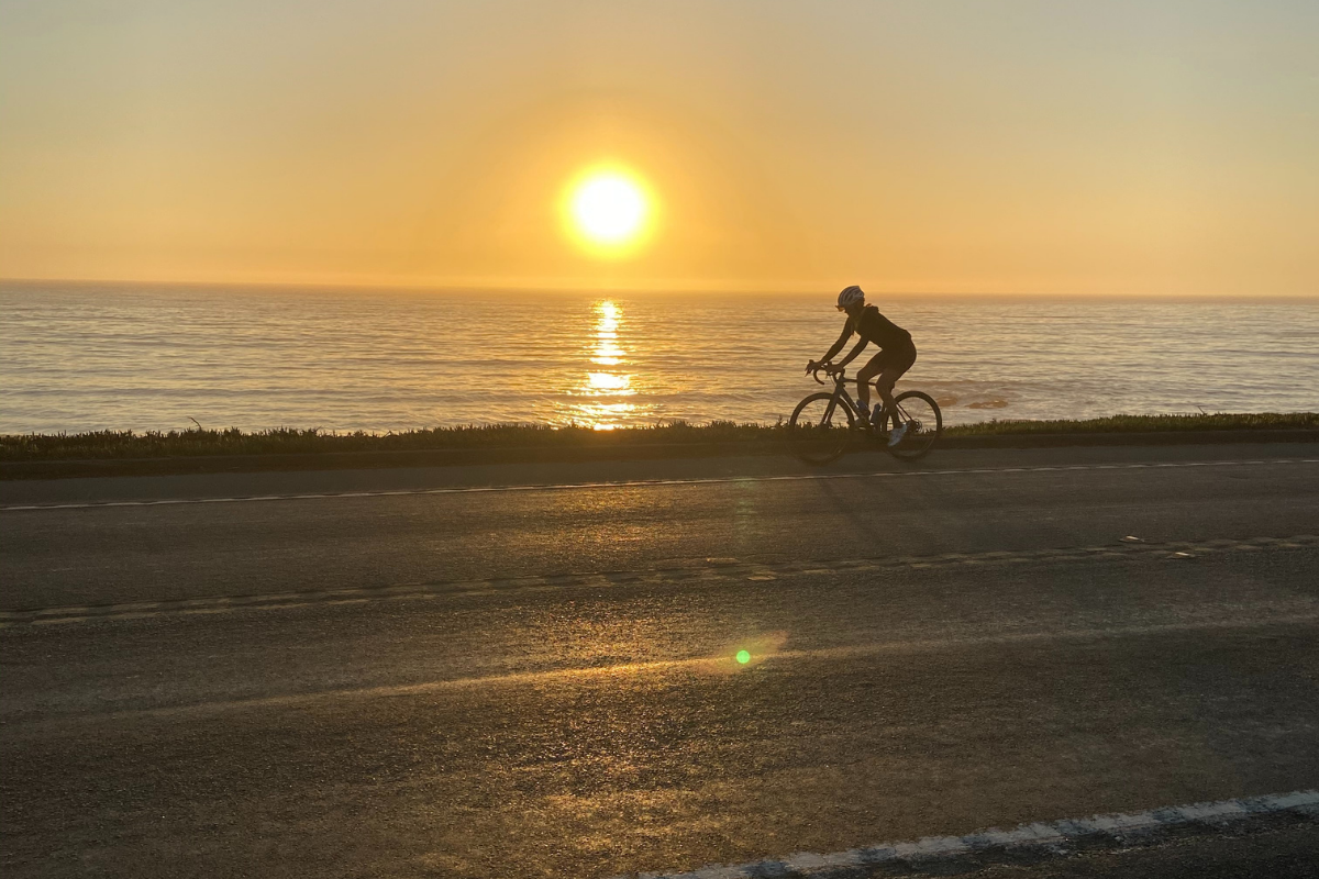 Sunset cycling on Highway 1 in Cambria