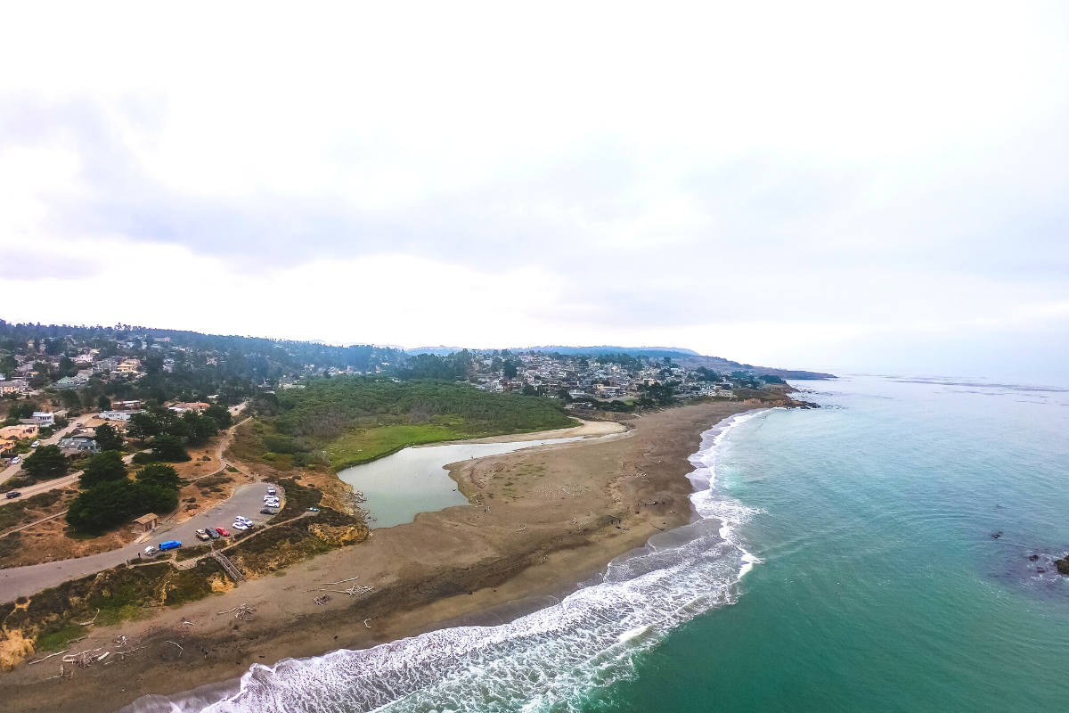 Drone footage of Moonstone Beach in Cambria